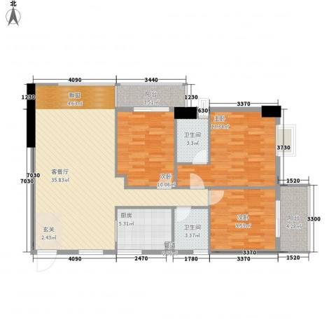 柒星景3室1厅2卫1厨124.00㎡户型图