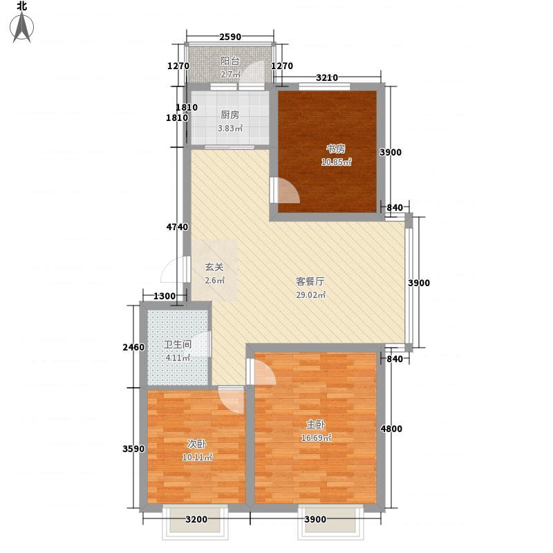 蓝山国际13.30㎡D户型3室2厅1卫1厨