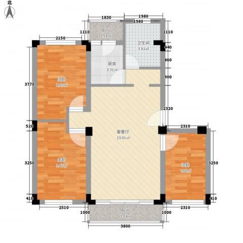 景福花园3室1厅1卫1厨88.00㎡户型图