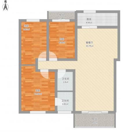 怡景民居3室1厅2卫1厨120.00㎡户型图