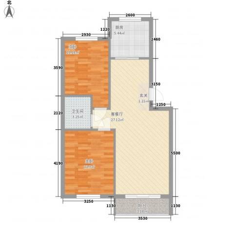 水岸花都2室1厅1卫1厨80.00㎡户型图