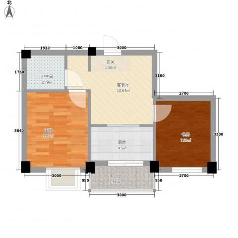 兰溪文苑2室1厅1卫1厨55.00㎡户型图