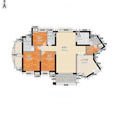 中海金沙熙岸3室1厅2卫1厨154.00㎡户型图