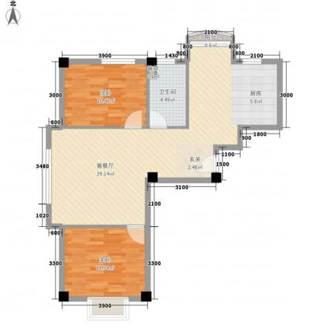 兰溪文苑2室1厅1卫0厨88.00㎡户型图