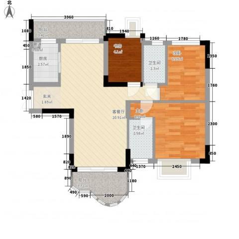 云山熹景3室1厅2卫1厨80.00㎡户型图