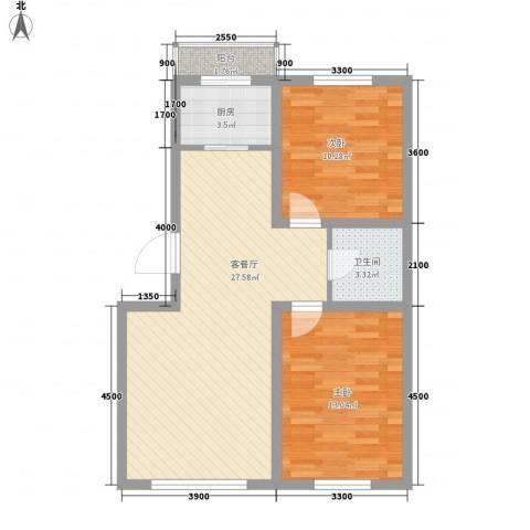 博客地带2室1厅1卫1厨79.00㎡户型图