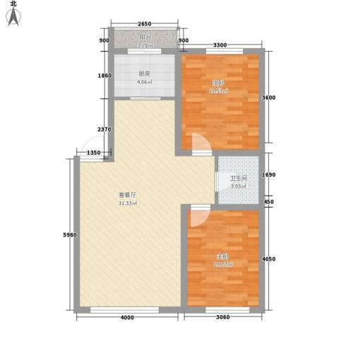 博客地带2室1厅1卫1厨82.00㎡户型图