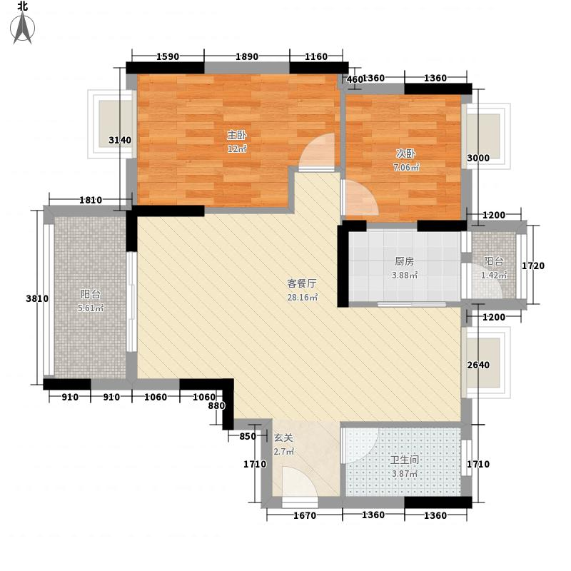 丰泽园80.16㎡丰泽园户型图标准层E1户型2室2厅1卫1厨户型2室2厅1卫1厨
