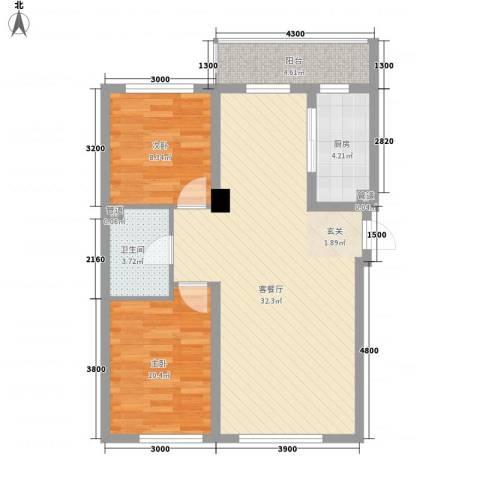 鑫港上上城2室1厅1卫1厨87.00㎡户型图