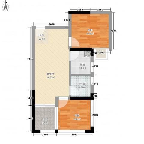 绿景香颂2室1厅1卫1厨56.00㎡户型图