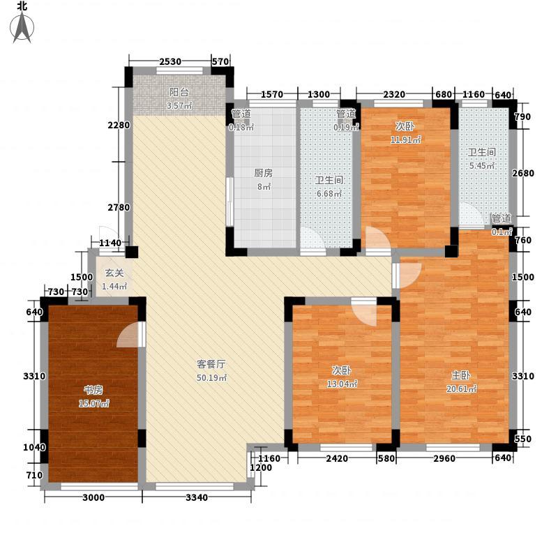 金越逸墅蓝湾别墅168.60㎡76#2/3/4层C1户型4室2厅2卫