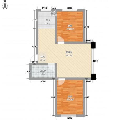 鑫港上上城2室1厅1卫0厨87.00㎡户型图