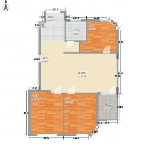 水岸花都3室1厅1卫0厨114.00㎡户型图