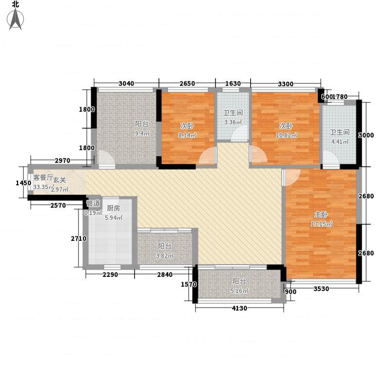 宏发上域户型图3栋A座01户型 3室2厅2卫1厨