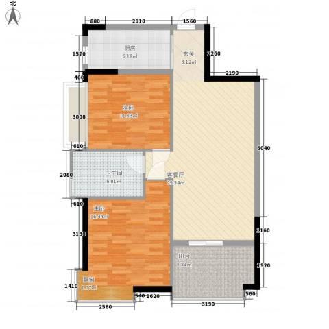 鸿安广场2室1厅1卫1厨78.00㎡户型图