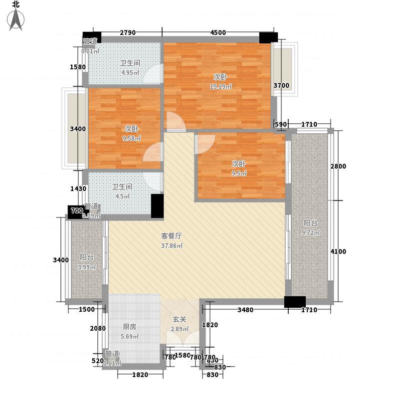 幸福湾124.00㎡7、8栋01单元户型3室2厅2卫1厨