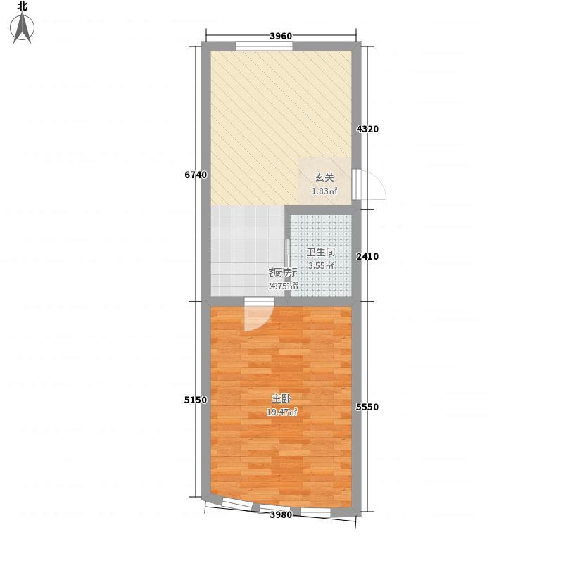 宝翠园户型图20071207-1号楼D户型 1室1厅1卫