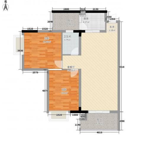 鸿安广场2室1厅1卫1厨80.47㎡户型图