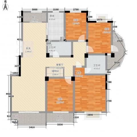 金色新城熙园4室1厅2卫1厨157.00㎡户型图