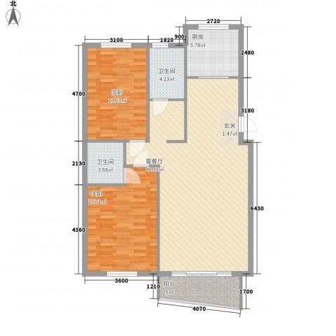 水岸花都2室1厅2卫1厨111.00㎡户型图