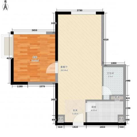 日月光中心伯爵居1室1厅1卫1厨73.00㎡户型图