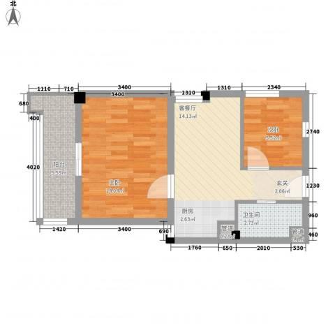 东福金座2室1厅1卫0厨62.00㎡户型图