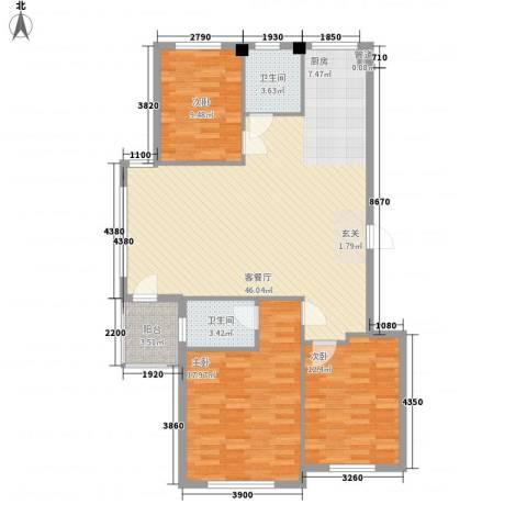 水岸花都3室1厅2卫0厨122.00㎡户型图