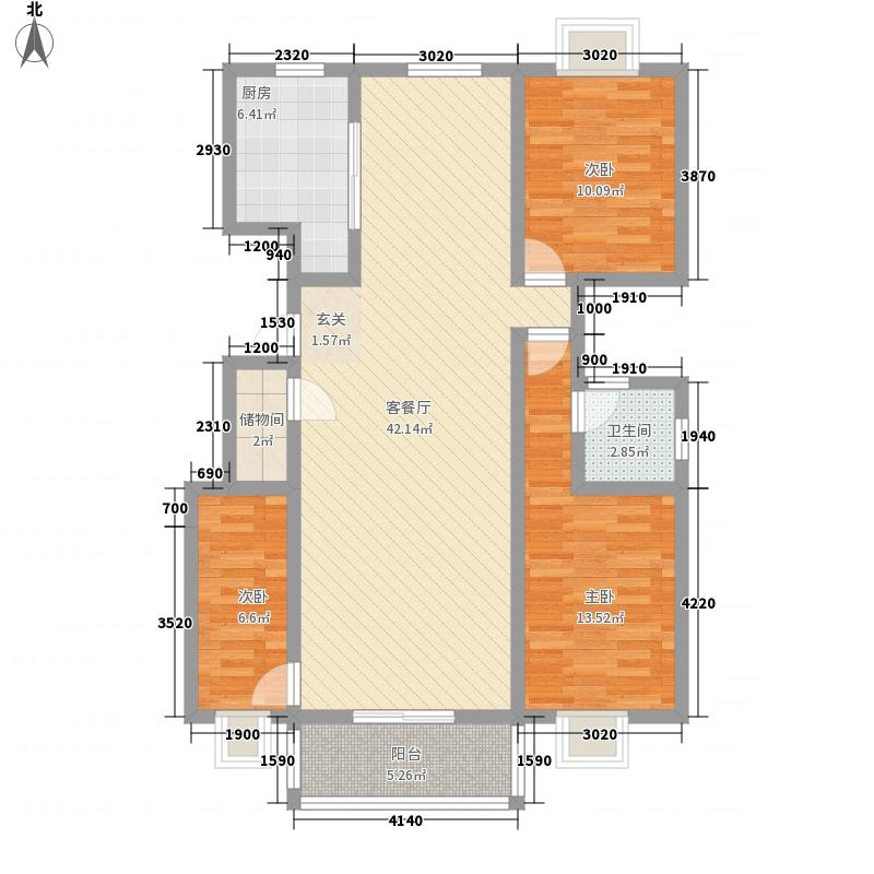 盛华景苑12.84㎡B户型4室2厅2卫1厨