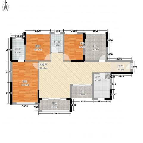 宏发上域3室1厅2卫1厨122.00㎡户型图