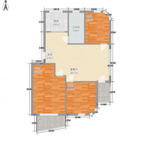 水岸花都3室1厅1卫1厨101.00㎡户型图