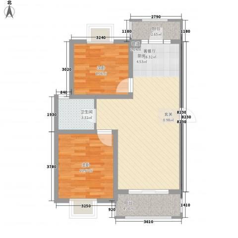 大华梧桐城邦2室1厅1卫0厨80.00㎡户型图