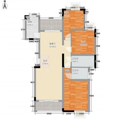 龙鑫华城二期3室1厅2卫1厨122.00㎡户型图