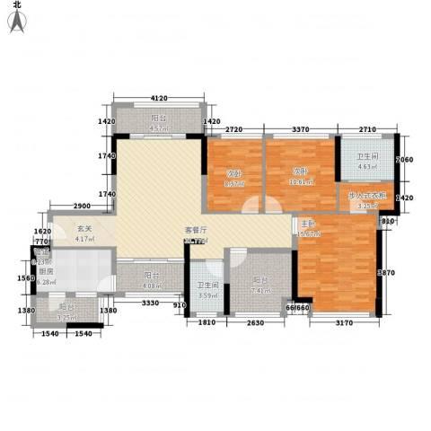 宏发上域3室1厅2卫1厨123.00㎡户型图