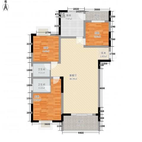龙鑫华城二期3室1厅2卫1厨123.00㎡户型图