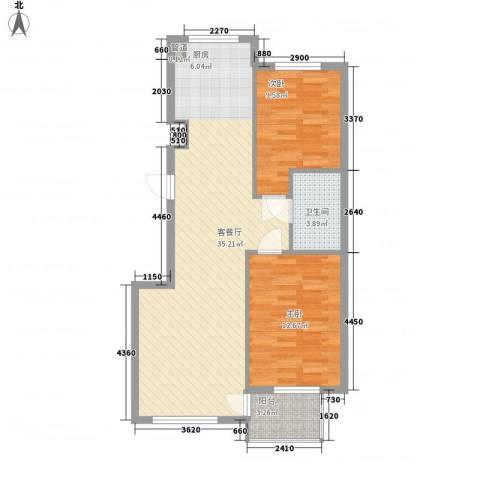 水岸花都2室1厅1卫0厨90.00㎡户型图