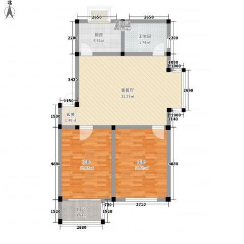望海家园2室1厅1卫1厨110.00㎡户型图