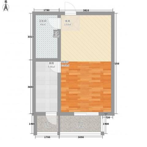 金鑫苑1厅1卫1厨58.00㎡户型图