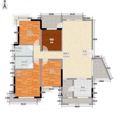 恒大雅苑4室1厅2卫1厨178.00㎡户型图