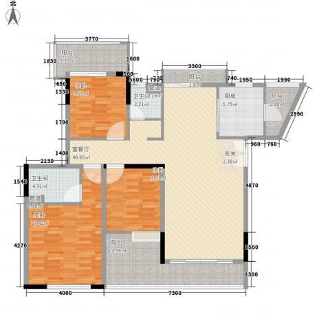 恒大雅苑3室1厅2卫1厨156.00㎡户型图