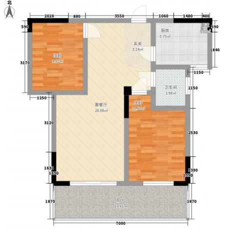 龙鑫华城二期2室1厅1卫1厨69.74㎡户型图