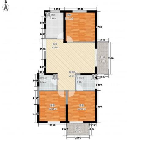 佳源广场3室1厅2卫1厨127.00㎡户型图