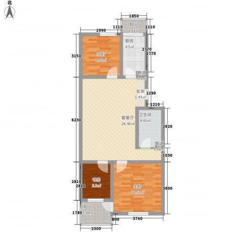碧波园温泉家园3室1厅1卫1厨96.00㎡户型图