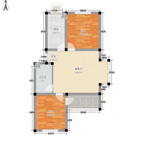 望海家园2室1厅1卫1厨93.00㎡户型图