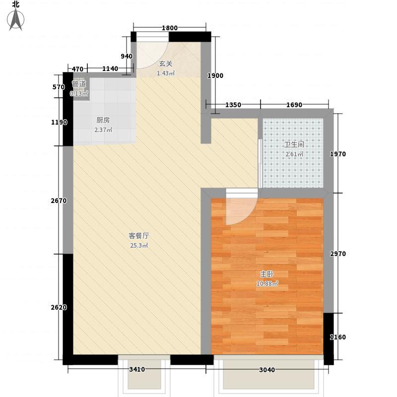 华荣泰时代COSMO61.00㎡华荣泰时代COSMO户型图一期6号楼11层C户型1室2厅1卫1厨户型1室2厅1卫1厨