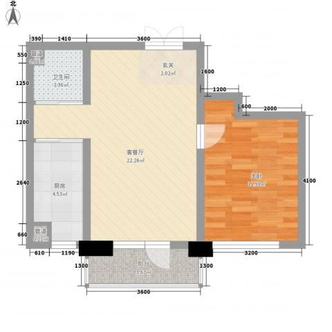 鑫港上上城1室1厅1卫1厨66.00㎡户型图