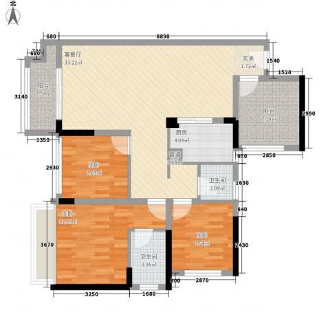 宏发上域3室1厅2卫1厨88.00㎡户型图