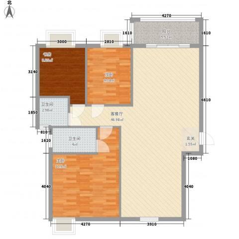新城国际3室1厅2卫0厨123.00㎡户型图