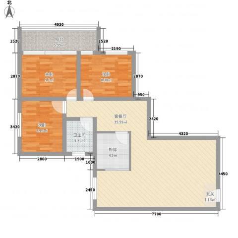 东湖西路小区3室1厅1卫1厨108.00㎡户型图