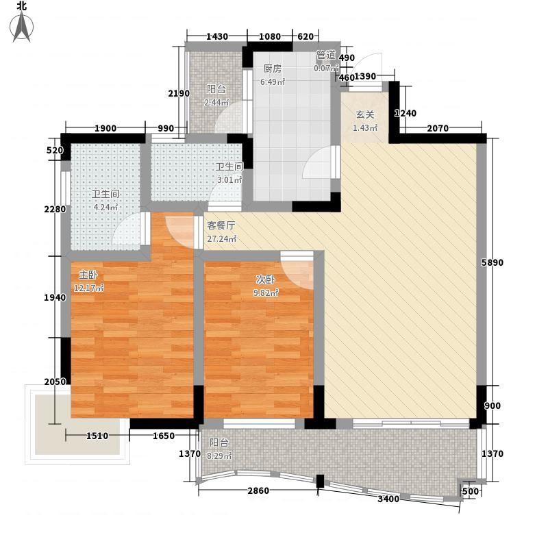 香格里拉花园1.70㎡尊品灵动户型2室2厅2卫1厨