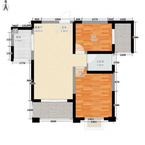 长江绿岛2室1厅1卫1厨70.40㎡户型图